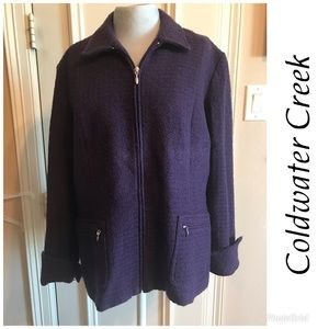 Coldwater Creek Zip Front Long Sleeve Blazer